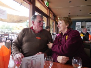 Ian and Mary Rowley sharing a joke while waiting for lunch