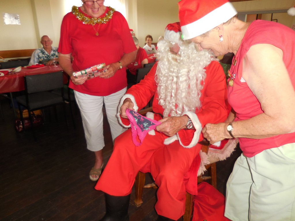 Pat Kuss complaining to Santa about her 'inappropriate gift'