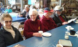 L to R: Lyn Hunter June Mabbitt Terry Mabbitt and Alan Hagger enjoying morning tea and a chat
