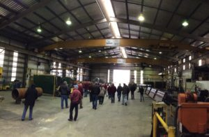 Jeremy showing us around the workshop inside Bowhill Engineering.